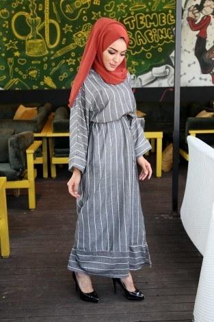 Çizgili elbise 03968-01 - Thumbnail