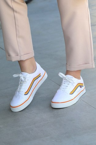 - Renkli Kontrast Beyaz Spor Ayakkabı 6157-10