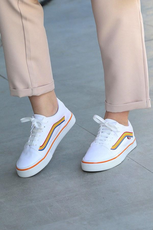 Renkli Kontrast Beyaz Spor Ayakkabı 6157-10