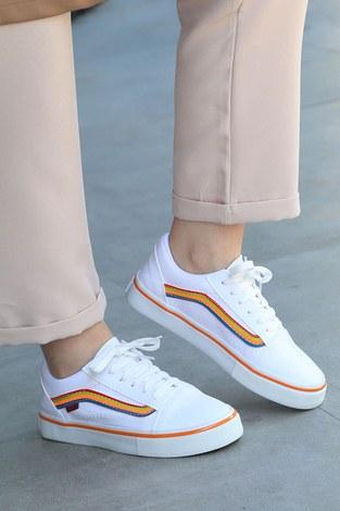- Renkli Kontrast Beyaz Spor Ayakkabı 6157-10 (1)