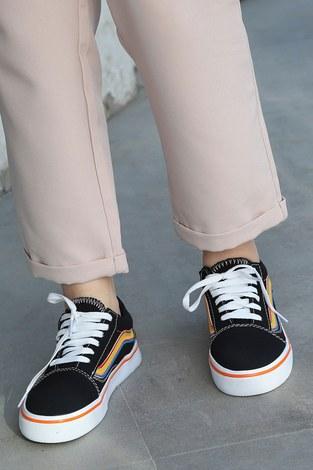 - Renkli Kontrast Siyah Spor Ayakkabı 6157-9