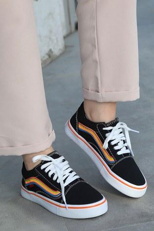 - Renkli Kontrast Siyah Spor Ayakkabı 6157-9 (1)
