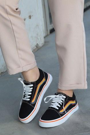 Renkli Kontrast Siyah Spor Ayakkabı 6157-9 - Thumbnail