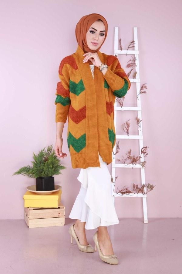 Renkli Şık Tunik Hırka 89111-02