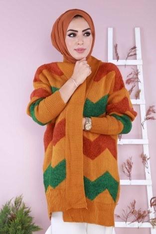Renkli Şık Tunik Hırka 89111-02 - Thumbnail