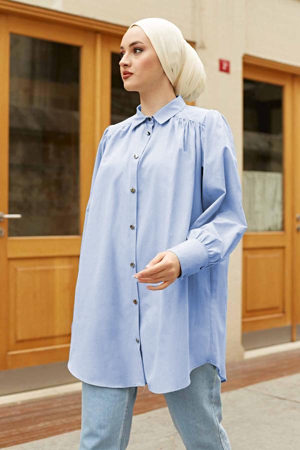 Roba Görünümlü Gömlek 160SAG3059 Açık Mavi