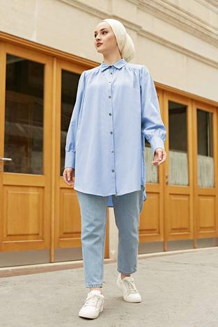 Roba Görünümlü Gömlek 160SAG3059 Açık Mavi - Thumbnail