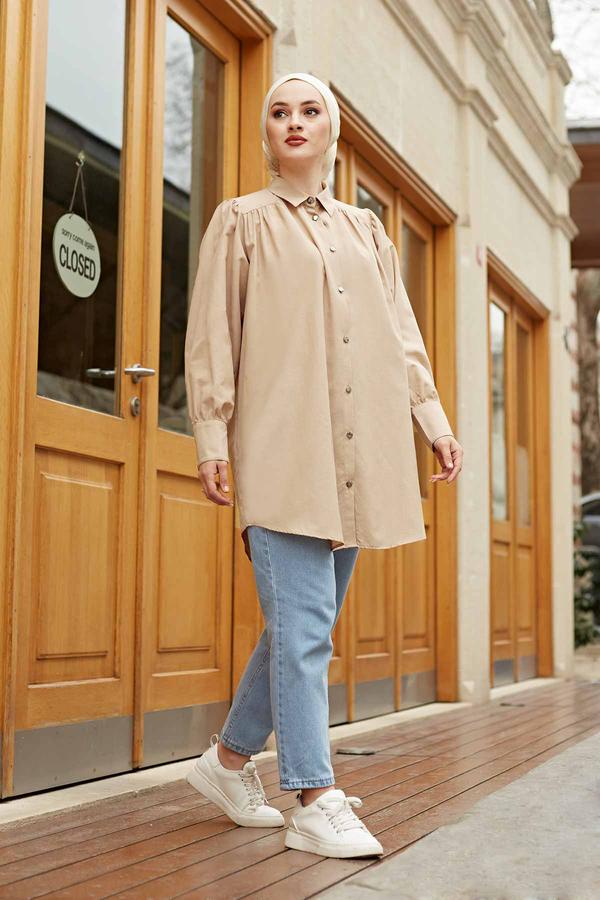 Roba Görünümlü Gömlek 160SAG3059 Bej