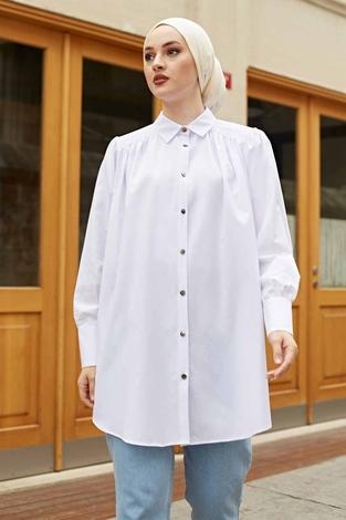 Roba Görünümlü Gömlek 160SAG3059 Beyaz - Thumbnail
