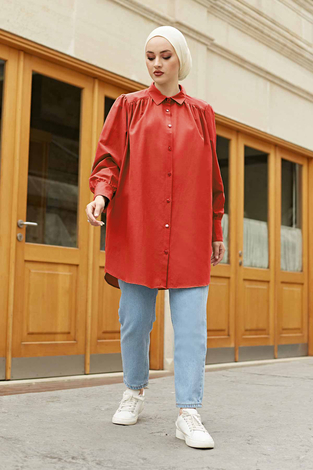Roba Görünümlü Gömlek 160SAG3059 Kırmızı - Thumbnail