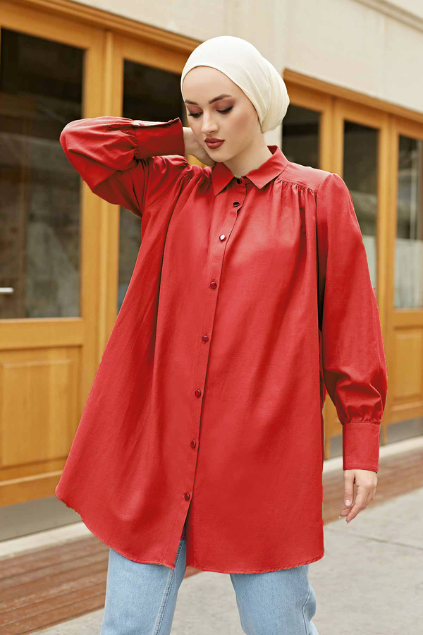 Roba Görünümlü Gömlek 160SAG3059 Kırmızı