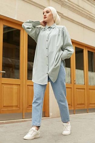Roba Görünümlü Gömlek 160SAG3059 Mint - Thumbnail