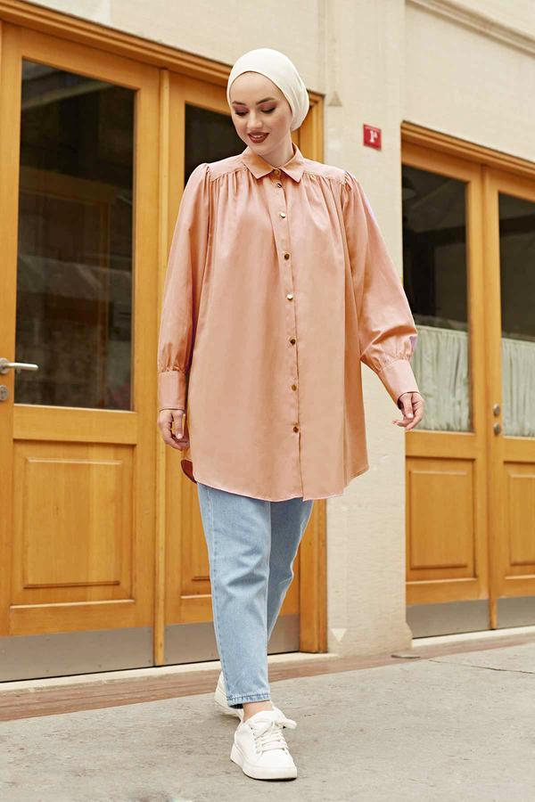 Roba Görünümlü Gömlek 160SAG3059 Somon