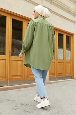Roba Görünümlü Gömlek 160SAG3059 Yeşil - Thumbnail