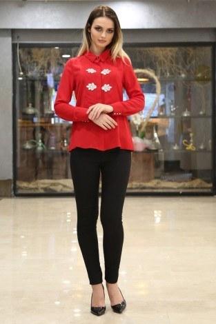 - RYN Yakasında Taş Detaylı Bluz-Gömlek 17449-1 Kırmızı (1)