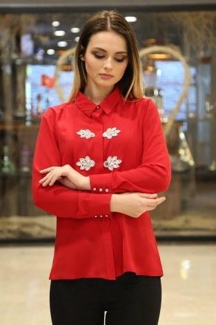 RYN Yakasında Taş Detaylı Bluz-Gömlek 17449-1 Kırmızı - Thumbnail