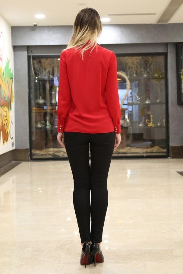 RYN Yakasında Taş Detaylı Bluz-Gömlek 17449-1 Kırmızı