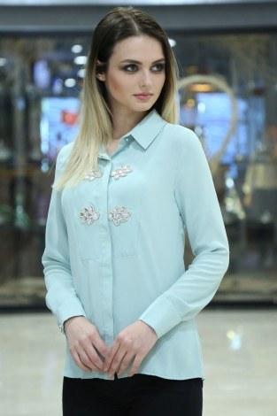 RYN Yakasında Taş Detaylı Bluz-Gömlek 17449-5 S.Yeşili - Thumbnail