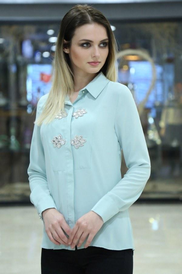 RYN Yakasında Taş Detaylı Bluz-Gömlek 17449-5 S.Yeşili
