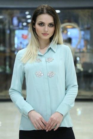 - RYN Yakasında Taş Detaylı Bluz-Gömlek 17449-5 S.Yeşili (1)