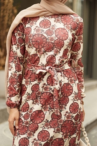NEVA MODA - Saat Desenli Kaşkorse Elbise 120NY2000 Gülk. (1)
