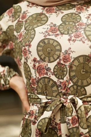 NEVA MODA - Saat Desenli Kaşkorse Elbise 120NY2000 Haki (1)