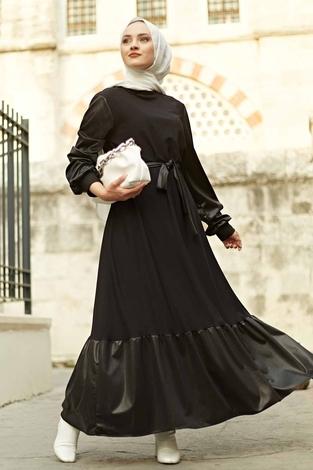 - SAG Deri Garnili Elbise 2964-1 Siyah
