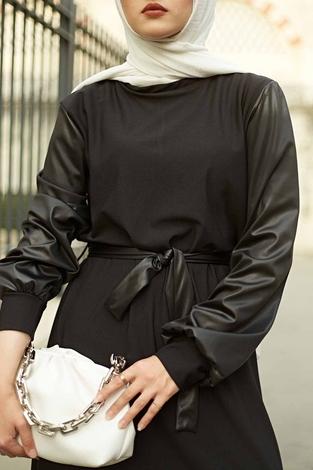 - SAG Deri Garnili Elbise 2964-1 Siyah (1)