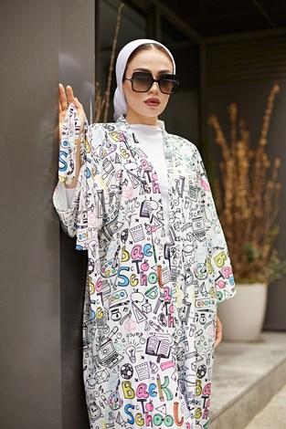 SAG Desenli Kimono 9213-3 - Thumbnail
