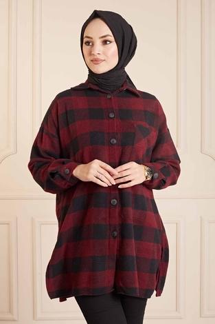 SAG Krevreze Cepli Oduncu Gömlek 160SAG61402 Bordo-Siyah - Thumbnail