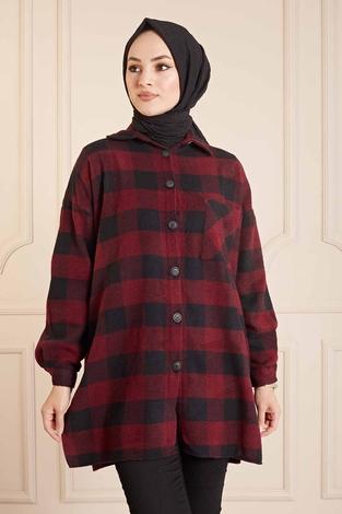 SAG - SAG Krevreze Cepli Oduncu Gömlek 160SAG61402 Bordo-Siyah (1)