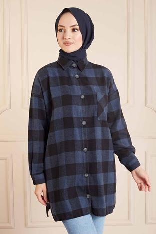 SAG - SAG Krevreze Cepli Oduncu Gömlek 160SAG61402 Lacivert-Siyah (1)