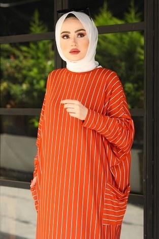 SAG Yarasa Kol Giy Çık Tunik 2728-5 Kiremit - Thumbnail