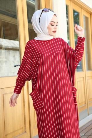 SAG Yarasa Kol Giy Çık Tunik 2728-7 Kırmızı - Thumbnail