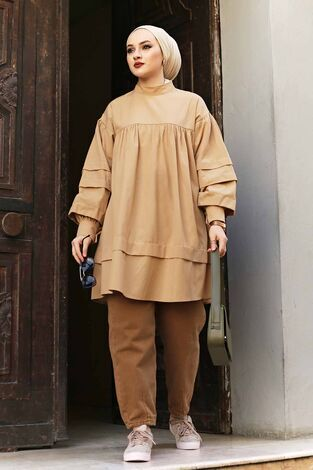 Salaş Poplin Gömlek 190E1402 Camel - Thumbnail