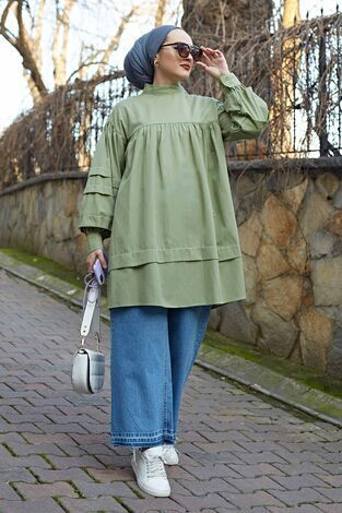 Salaş Poplin Gömlek 190E1402 Mint - Thumbnail