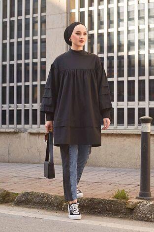 Salaş Poplin Gömlek 190E1402 Siyah - Thumbnail