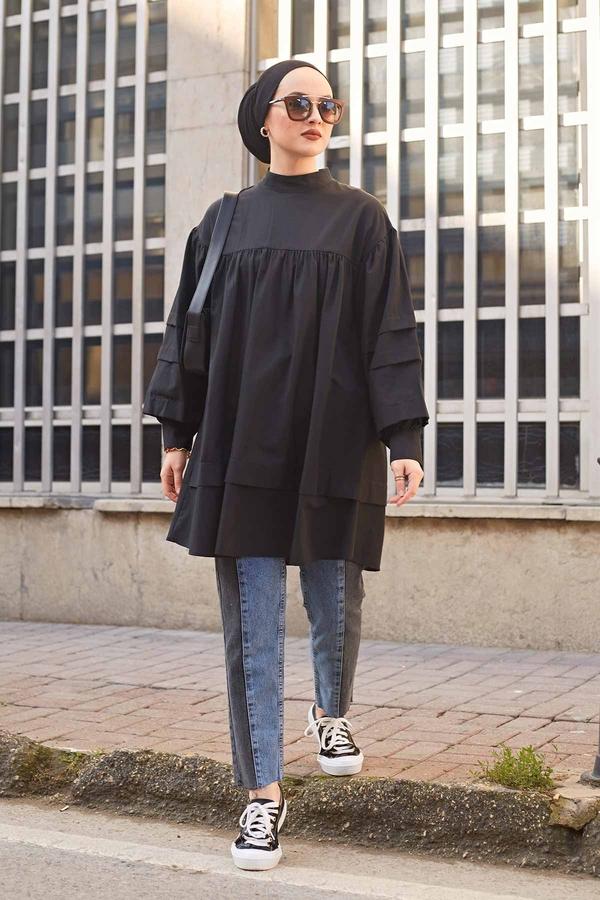 Salaş Poplin Gömlek 190E1402 Siyah