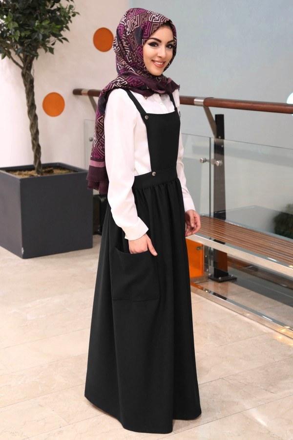 Salopet Elbise 5065-6-siyah