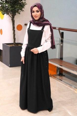 Salopet Elbise 5065-6-siyah - Thumbnail