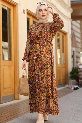 Salyangoz Desen Elbise 17636-2 Hardal - Thumbnail