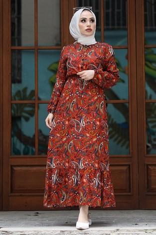 Salyangoz Desen Elbise 17636-3 Kiremit - Thumbnail