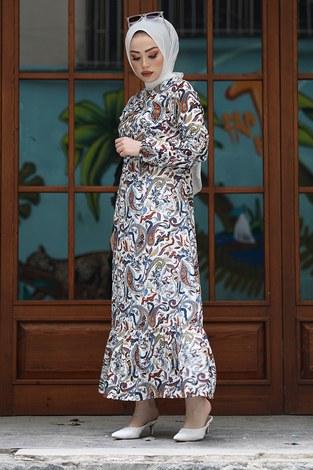 Salyangoz Desen Elbise 17636-4 Ekru - Thumbnail