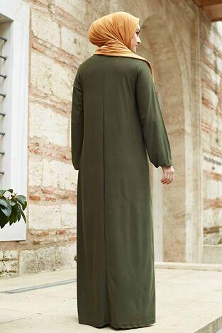 Sandy Ferace Elbise 190E-6730 Haki - Thumbnail