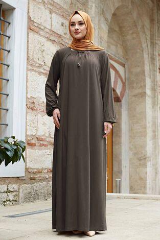 Sandy Ferace Elbise 190E-6730 Koyu Bej - Thumbnail