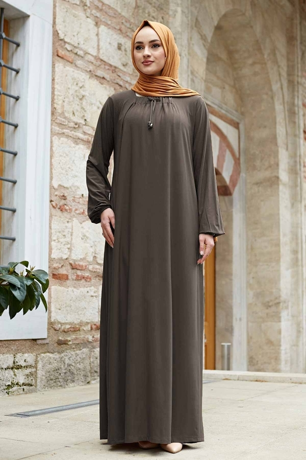 Sandy Ferace Elbise 190E-6730 Koyu Bej