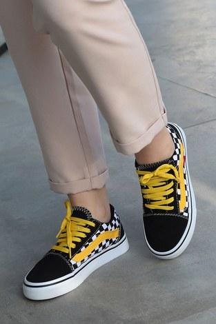 - Sarı Kontrast Siyah Spor Ayakkabı 6157-8
