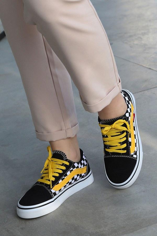 Sarı Kontrast Siyah Spor Ayakkabı 6157-8