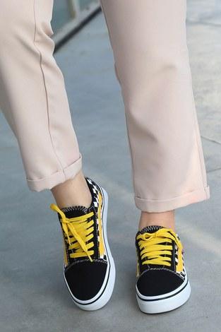 - Sarı Kontrast Siyah Spor Ayakkabı 6157-8 (1)