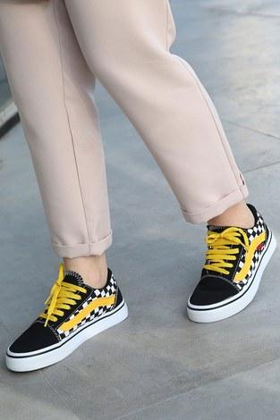 Sarı Kontrast Siyah Spor Ayakkabı 6157-8 - Thumbnail